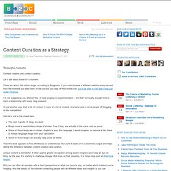 Content Curation as a Strategy