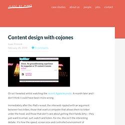 Content design with cojones