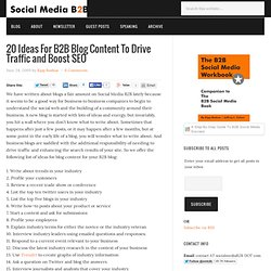 B2B Blog Content To Drive Traffic and Boost SEO | Social Media B