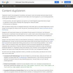 Content duplizieren - Webmaster-Tools-Hilfe