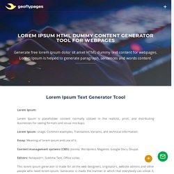 Lorem Ipsum HTML Dummy Content Generator Tool for Webpages
