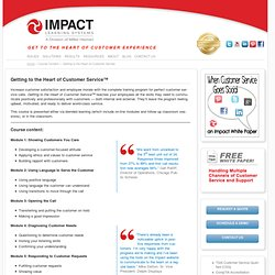 Course Content - Getting to the Heart of Customer Service - Impact