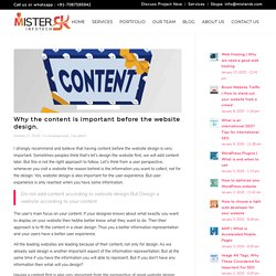Why the content is important before the website design.