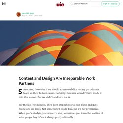 Content and Design Are Inseparable Work Partners — UIE Brain Sparks