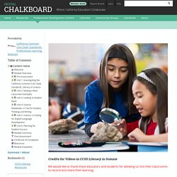 CCSS: Literacy in Science