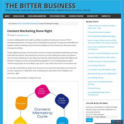 Content Marketing Done Right – The Bitter Business