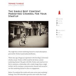 The Single Best Content Marketing Channel for Your Startup