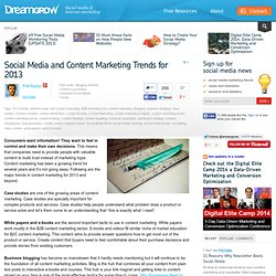 Social Media and Content Marketing Trends for 2013