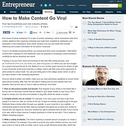 Four Tips for Making Your Content Marketing Go Viral