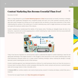Content Marketing Has Become Essential Than Ever! - Genesis BCW PR Consulting Firm