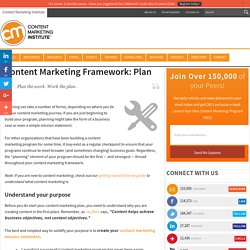 Content Marketing Framework: Plan