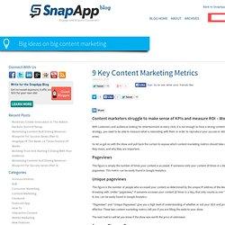 9 Key Content Marketing Metrics – SnapApp Content Marketing Blog