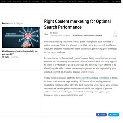 Right Content marketing for Optimal Search Performance