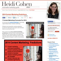 2014 Content Marketing Predictions - Heidi Cohen
