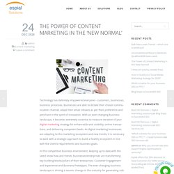 Power of Content marketing in New Normal