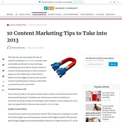 10 Content Marketing Tips to Take into 2013