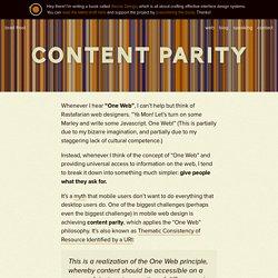 Content Parity
