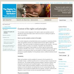 Content of the rights and principles « Rights to Water and Sanitation