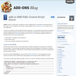 Add-on SDK FAQ: Content Script Access