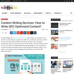 Content Writing Services: How to Write SEO Optimized Content?