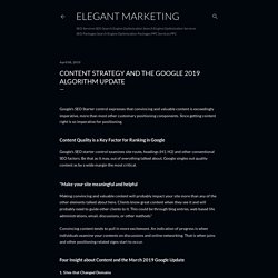 Content Strategy and the Google 2019 Algorithm Update