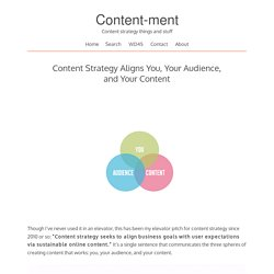 Content Strategy Aligns You, Your Audience, and Your Content