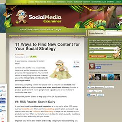 11 Ways to Find New Content for Your Social Strategy