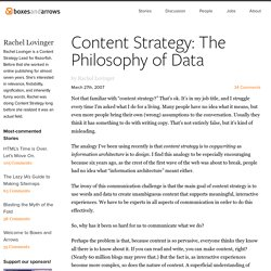 Content Strategy: The Philosophy of Data