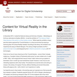 Content for Virtual Reality in the Library