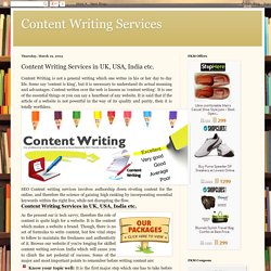 Content Writing Services: Content Writing Services in UK, USA, India etc.