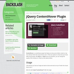 jQuery ContentHover Plugin - Web development - Backslash