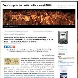Quérulence devant la Cour de Strasbourg : la frénésie ...