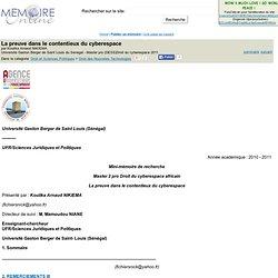 Université Gaston Berger de Saint Louis du Senegal - 2011 - La preuve dans le contentieux du cyberespace