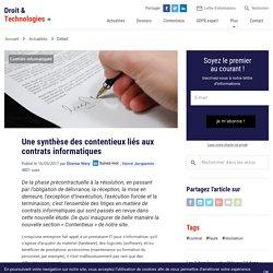 Une synthèse des contentieux liés aux contrats informatiques - Droit & Technologies