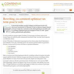 Rewriting, ou comment optimiser un texte pour le web