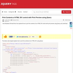 Print Contents of HTML DIV control with Print Preview using jQuery