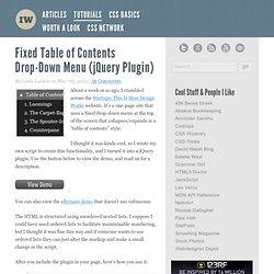 Fixed Table of Contents Drop-Down Menu (jQuery Plugin)