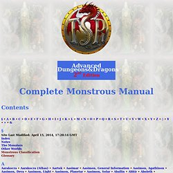 Contents (Monstrous Manual)