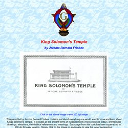 Table of Contents - King Solomon's Temple by Jerome Bernard Frisbee