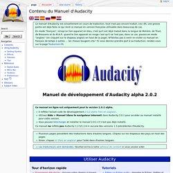 Contenu du Manuel d'Audacity - Audacity Development Manual