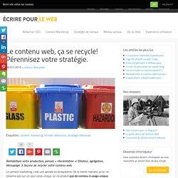 Le contenu web, ça se recycle! Pérennisez votre stratégie.
