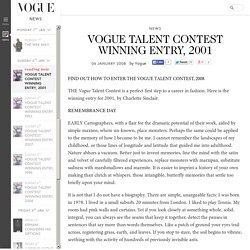 Vogue Talent Contest Winning Entry, 2001: Charlotte Sinclair (Vogue.co.uk)