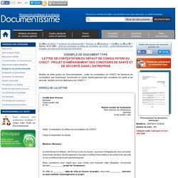 Exemple gratuit de Lettre contestation défaut consultation CHSCT : projet aménagement conditions santé et sécurité dans entreprise