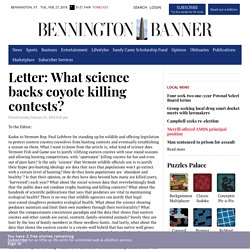 Letter: What science backs coyote killing contests?