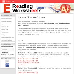 Context Clues Worksheets