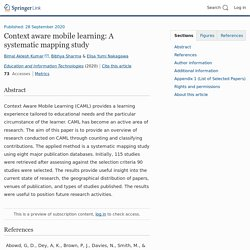 Context aware mobile learning: A systematic mapping study
