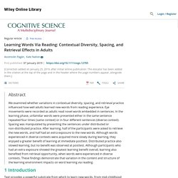 Learning Words Via Reading: Contextual Diversity, Spacing, and Retrieval Effects in Adults - Pagán - 2019 - Cognitive Science