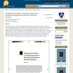 Chucking the Checklist: A Contextual Approach to Teaching Undergraduates Web-Site Evaluation
