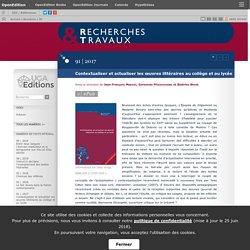 2017 Contextualiser et actualiser les œuvres littéraires au collège et au lycée