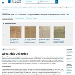 About this Collection - Documents from the Continental Congress and the Constitutional Convention, 1774-1789